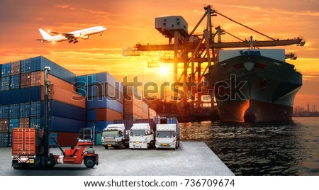Logistics and transportation of Container Cargo ship and Cargo plane with working crane bridge in shipyard at sunrise, logistic import export and transport industry background #736709674