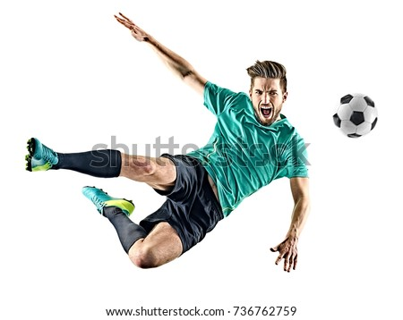 one caucasian soccer player man isolated on white background Royalty-Free Stock Photo #736762759
