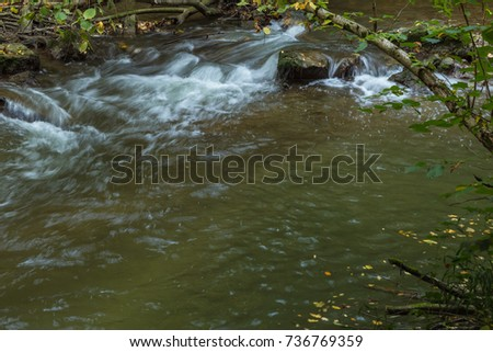 Part of Venoge river flowing through a forest. City of Lausanne, canton Vaud, Switzerland. Long exposure photo #736769359