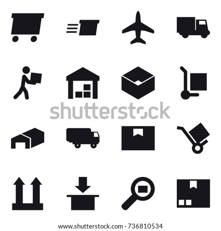 16 vector icon set : delivery, plane, truck, courier, warehouse, box, cargo stoller, package #736810534