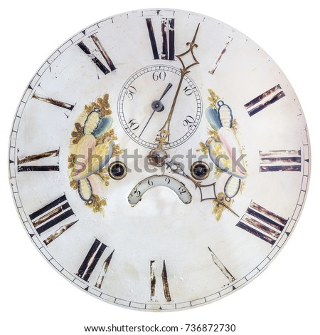 Authentic eighteenth century clock face with painted decoration isolated on a white background #736872730