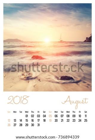 Nature photo calendar with beautiful minimalist landscape 2018. August