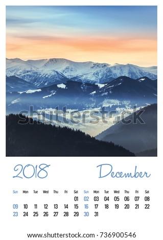 Nature photo calendar with beautiful minimalist landscape 2018. December