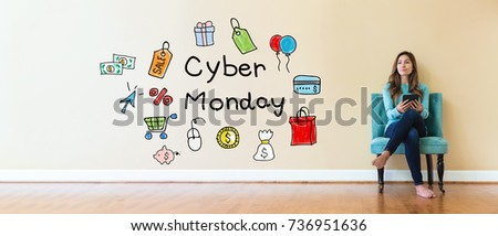 Cyber Monday text with young woman holding a tablet computer in a chair #736951636