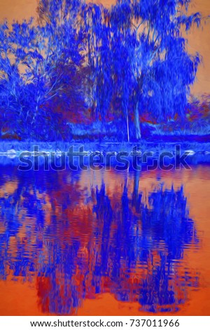 reflection of tree on water #737011966