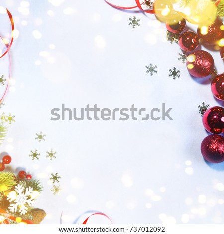 Holiday background, greeting card for Christmas and New Year #737012092