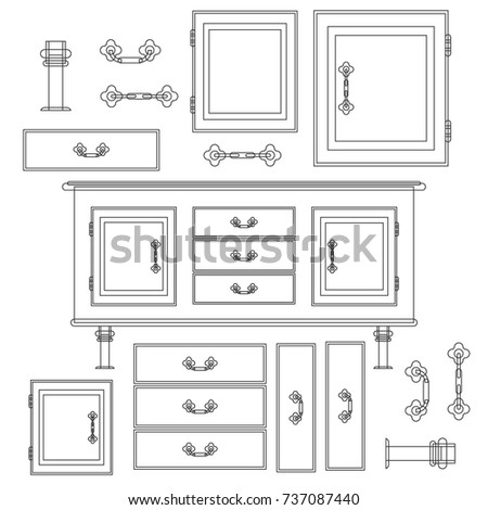 Sideboard flat vector design. It is executed in the old and modern style. #737087440