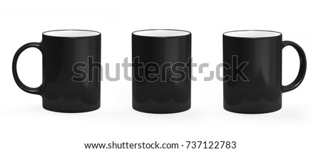 Coffee mug black. Mug empty mock-up #737122783