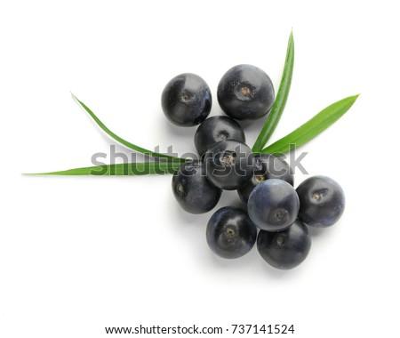 Fresh acai berries, isolated on white #737141524