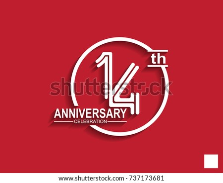 14th anniversary celebration logotype with linked number in circle isolated on red background #737173681