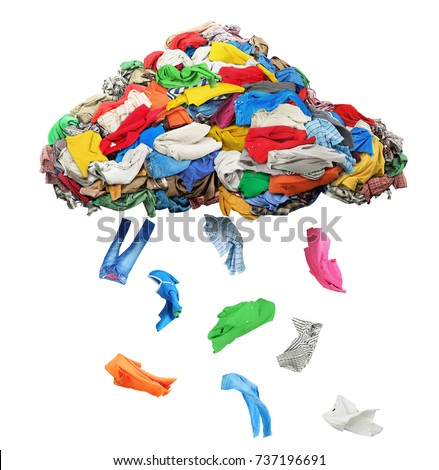 Clothes fall out of a clothing cloud isolated on a white background #737196691