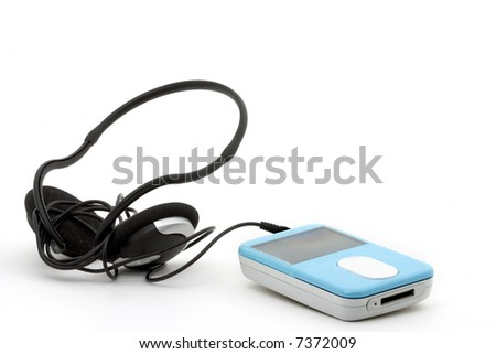 blue mp3 player with headphones on a white background