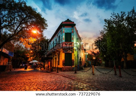 Public Square in La Boca, Buenos Aires, Argentina. Taken during sunset on April 9th 2015. #737229076