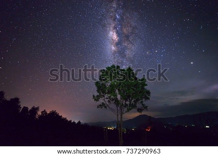 Milky way galaxy with stars and space dust in Milky way galaxy with stars and space dust in the universe.  #737290963