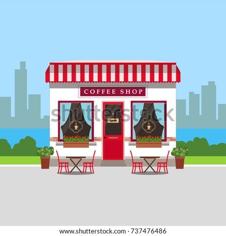 Coffee shop house with outside tables and city landscape, trendy flat style vector design template