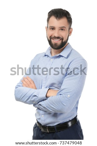 Handsome successful businessman on white background #737479048