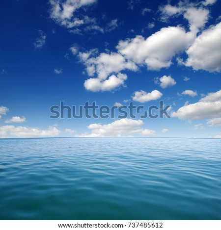 Blue sea water surface on sky #737485612