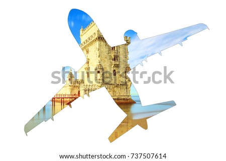 Tourism and holidays concept. Silhouette of airplane, view from ground level, with image of Belem Tower, icon of Lisbon, Portugal. Transport and travel concept. Isolated on white background.Copy space