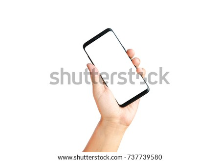 Hand show holding smart phone blank on white screen and white background , Clipping path #737739580