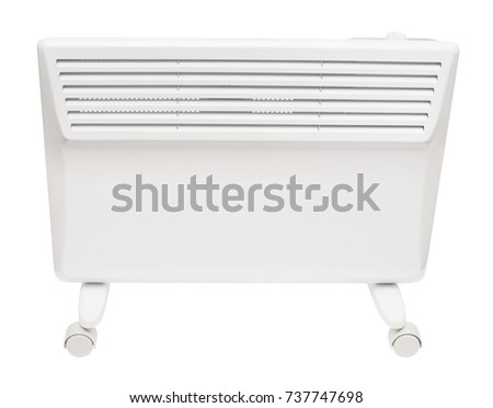 Home electric heater convector isolated on white background. Equipment for rapid heating of the room #737747698