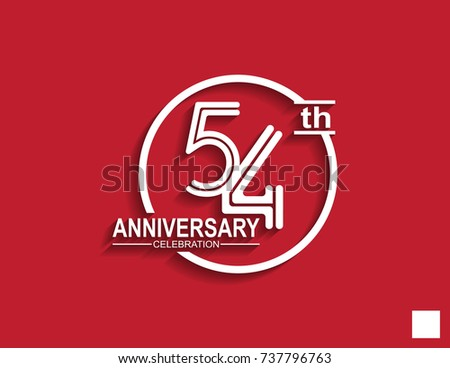 54th anniversary celebration logotype with linked number in circle isolated on red background #737796763