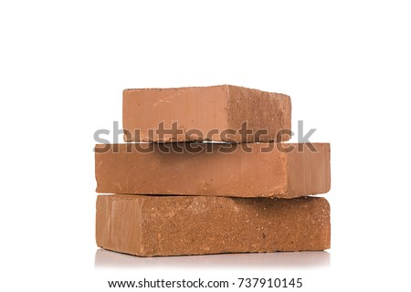 Solid clay bricks used for construction,Old red brick isolated on white background. Object isolated. #737910145