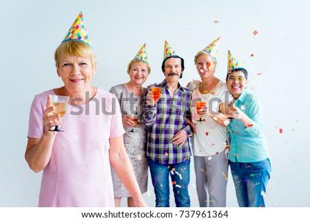 Seniors on a birthday party #737961364