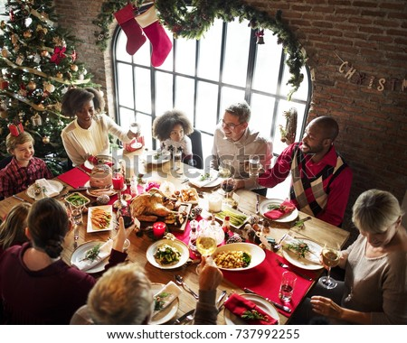 Group of diverse people are gathering for christmas holiday #737992255