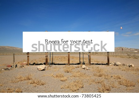 a blank bill board in the desert with room for your text or images