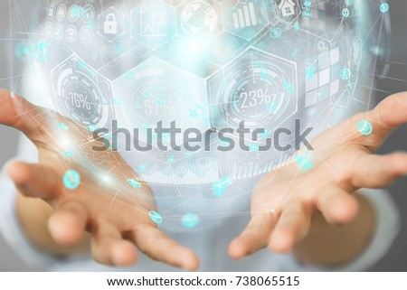 Businesswoman on blurred background using holograms datas digital sphere 3D rendering #738065515