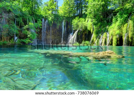 Croatia's Plitvice Lakes National Park is famous for the sapphire color of its water in 16 lakes #738076069