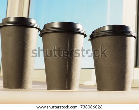 three paper Cup of coffee #738086026