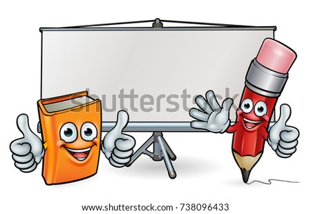 Book and pencil cartoon character education mascots giving thumbs up in front of a school whiteboard or projector screen