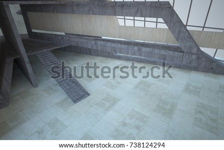Abstract  concrete and wood interior multilevel public space with window. 3D illustration and rendering. #738124294
