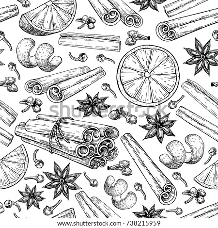 Mulled wine ingredients seamless pattern. Cinnamon stick tied bunch, anise star, orange, cloves. Vector drawing Hand drawn sketch Seasonal food background. Engraved spice and flavor object. Xmas drink Royalty-Free Stock Photo #738215959