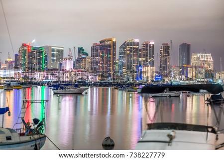 Night skyline of San Diego from city port. #738227779