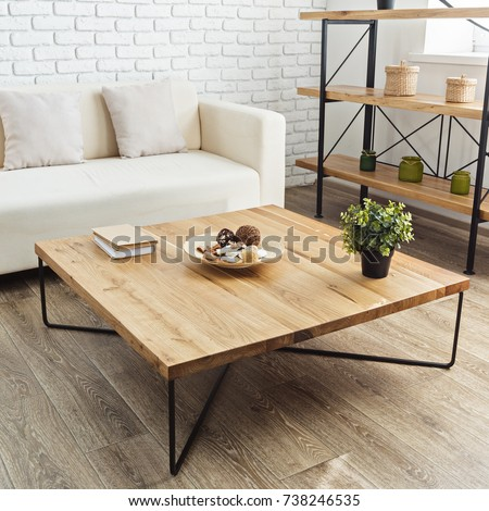 modern wooden table in the loft interior #738246535
