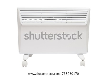 Home electric heater convector isolated on white background. Equipment for rapid heating of the room #738260170