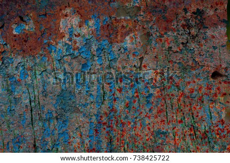 Multicolor grunge background with abstract colored texture. Various color pattern elements. Old vintage scratches, stain, paint splats, brush strokes, dots, spots. Weathered wall backdrop #738425722