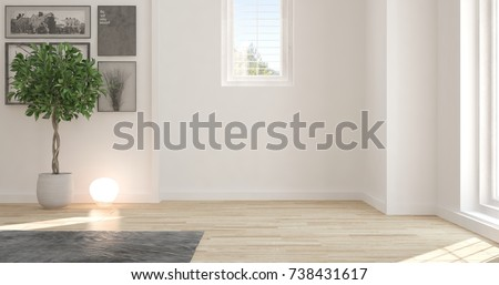 White empty room. Scandinavian interior design. 3D illustration #738431617