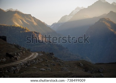Evening in mountains. panorama of the picturesque gorge, nature of the North Caucasus #738499009