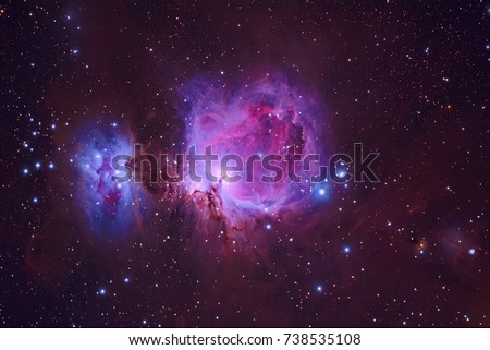 Orion Nebula M42 with Galaxy,Open Cluster,Globular Cluster, stars and space dust in the universe and Milky way taken by dedicated astrophotography camera on telescope. #738535108