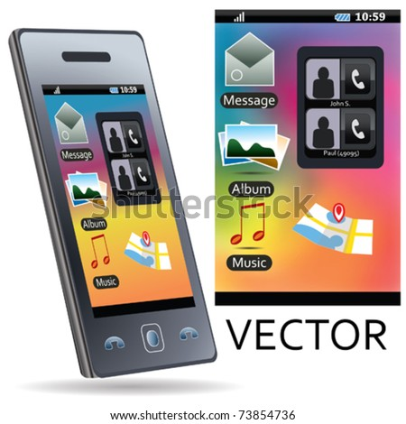 VECTOR Mobile Phone With Icons #73854736