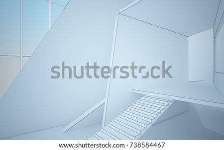 Abstract drawing white interior multilevel public space with window. Polygon black drawing. 3D illustration and rendering. #738584467