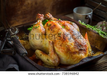 Crispy roasted chicken with spices and vegetables #738596842