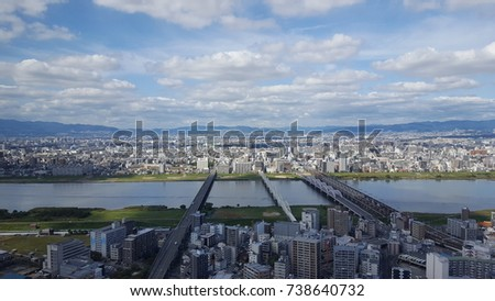 beautiful blue sky / osaka view #738640732