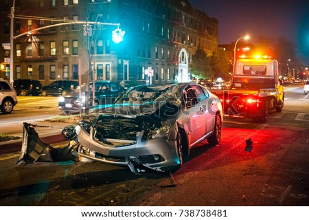 Car crash night city rescue emergency service Royalty-Free Stock Photo #738738481