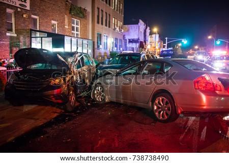Multiple car crash night city emergency severe damage Royalty-Free Stock Photo #738738490