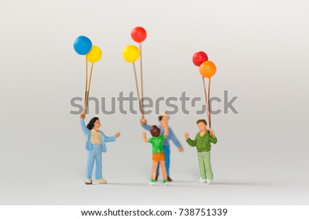 Little boy playing balloon with other children have funny. #738751339