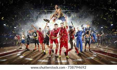 players of different sports in the basketball stadium 3D rendering #738794692